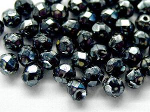 Best.Nr.:28325 Glasperlen facettiert schwarz mit picasso finish und lüster
