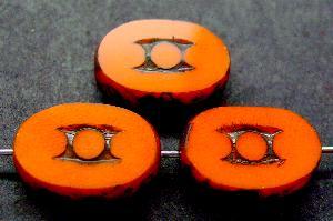 Best.Nr.:67899 Glasperlen / Table Cut Beads geschliffen mit Travertin-Veredelung, nach alten Vorlagen aus den 1930/40 Jahren neu gefertigt