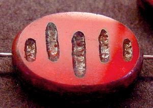 Best.Nr.:67894 Glasperlen / Table Cut Beads geschliffen mit Travertin-Veredelung, nach alten Vorlagen aus den 1930/40 Jahren neu gefertigt