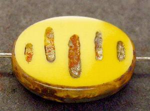 Best.Nr.:67877 Glasperlen / Table Cut Beads geschliffen mit Travertin-Veredelung, nach alten Vorlagen aus den 1930/40 Jahren neu gefertigt