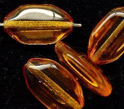 Best.Nr.:46075 Glasperlen Olive flach,kantig  topas
