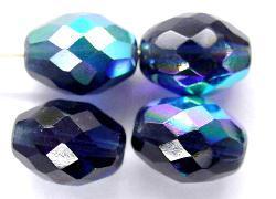 Best.Nr.:28275 facettierte Glasperlen Oliven  taubenblau dunkel mit AB