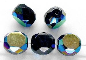 Best.Nr.:67912 Glasperlen / Table Cut Beads geschliffen, schwarz mit AB, Rand mit Facettenschliff