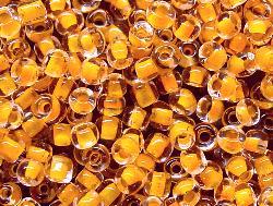 Best.Nr.:12031 Rocailles  kristall mit Farbeinzug orangegelb