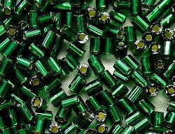 Best.Nr.:21003 Stiftperlen hergestellt von Preciosa Ornella Tschechien,  grün mit Silbereinzug
