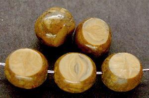 Best.Nr.:67839 Glasperlen / Table Cut Beads geschliffen beige mit Travertin-Veredelung
