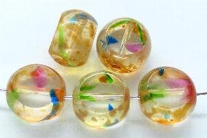 Best.Nr.:67228 Glasperlen / Table Cut Beads  mit Travertin-Veredelung