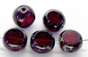 Best.Nr.:67798 Glasperlen / Table Cut Beads geschliffen granatrot mit Travertin-Veredelung