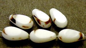 Best.Nr.:67872 Glasperlen / Table Cut Beads geschliffen / weiß braun Rand mattiert (frostet)