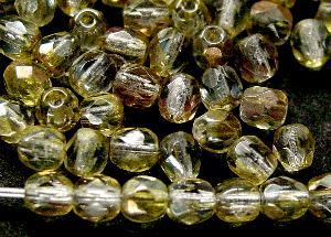 Best.Nr.:28330 facettierte Glasperlen, oliv mit AB, hergestellt in Gablonz / Böhmen