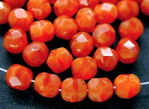 Best.Nr.:26446 facettierte Glasperlen Perlettglas orange, hergestellt in Gablonz / Tschechien