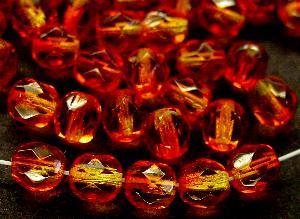 Best.Nr.:24079 facettierte Glasperlen mit zweifarbigen Wachsüberzug orange gelb