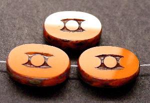 Best.Nr.:67681 Glasperlen / Table Cut Beads geschliffen mit Travertin-Veredelung, nach alten Vorlagen aus den 1930/40 Jahren neu gefertigt