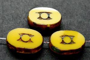 Best.Nr.:67527 Glasperlen / Table Cut Beads geschliffen mit Travertin-Veredelung, nach alten Vorlagen aus den 1930/40 Jahren neu gefertigt