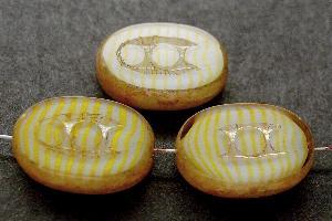 Best.Nr.:67771 Glasperlen / Table Cut Beads geschliffen mit Travertin-Veredelung, nach alten Vorlagen aus den 1930/40 Jahren neu gefertigt