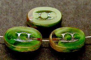 Best.Nr.:67888 Glasperlen / Table Cut Beads geschliffen mit Travertin-Veredelung, nach alten Vorlagen aus den 1920 Jahren neu gefertigt