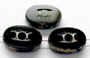 Best.Nr.:67434 Glasperlen / Table Cut Beads geschliffen mit Travertin-Veredelung, nach alten Vorlagen aus den 1930/40 Jahren neu gefertigt
