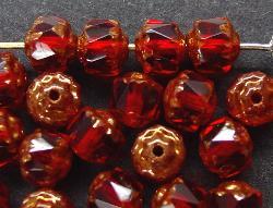 Best.Nr.:25005  facettierte Glasperlen / Barockperlen  mit Bronzeauflage