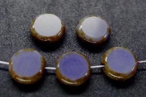 Best.Nr.:67940 Glasperlen / Table Cut Beads violett geschliffen mit Travertin-Veredelung