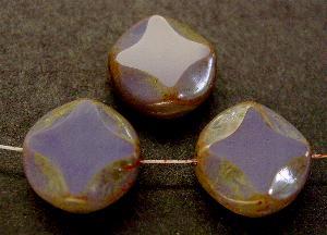 Best.Nr.:67936 Glasperlen / Table Cut Beads violett geschliffen mit picasso finish
