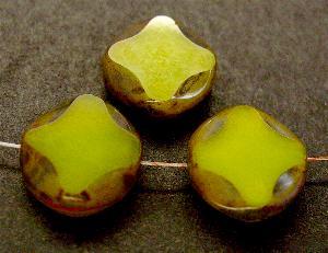 Best.Nr.:67935 Glasperlen / Table Cut Beads oliv geschliffen mit picasso finish