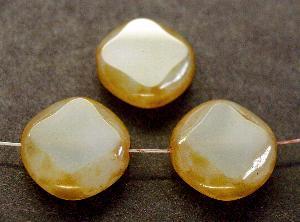 Best.Nr.:67937 Glasperlen / Table Cut Beads moonstone geschliffen mit Travertin-Veredelung
