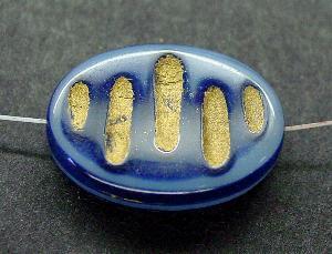 Best.Nr.:46060 Vintagestyle Glasperlen blau mit Goldauflage nach alten Vorlagen aus den 1930/40 Jahren neu gefertigt