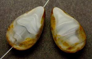 Best.Nr.:67932 Glasperle / Table Cut Beads geschliffen Tropfenform mit picasso finish