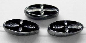 Best.Nr.:67943 Glasperlen / Table Cut Beads geschliffen schwarz/mit Silverlüster