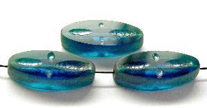 Best.Nr.:67942 Glasperlen / Table Cut Beads geschliffen montanablau/ Rand mattiert mit Silverlüster