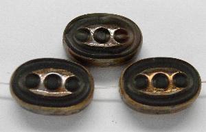 Best.Nr.:67945 Glasperlen / Table Cut Beads geschliffen blacksmoke mit Travertin-Veredelung, nach alten Vorlagen aus den 1930/40 Jahren neu gefertigt