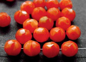 Best.Nr.:26436 facettierte Glasperlen Perlettglas orangerot