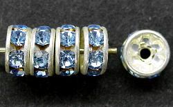 Best.Nr.:32034 Strassrondell  silberfarben  Strasssteinchen blau