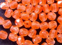 Best.Nr.:27352 facettierte Glasperlen orange transp., hergestellt in Gablonz / Tschechien,