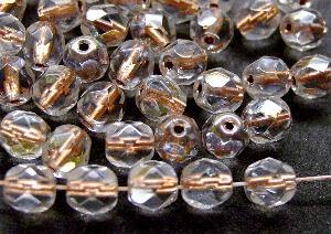 Best.Nr.:29026 facettierte Glasperlen kristall mit Kupfereinzug und AB