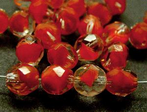 Best.Nr.:27314 facettierte Glasperlen hellrot mit kristall Überfang