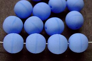 Best.Nr.:22123 Glasperlen rund hellblau mattiert (frostet), hergestellt in Gablonz / Tschechien