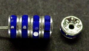 Best.Nr.:32025 Strassrondell silberfarben Strasssteinchen dunkelblau