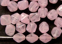 Best.Nr.:54054 Glasperlen  Doppelpyramide vierkantig  rosa meliert