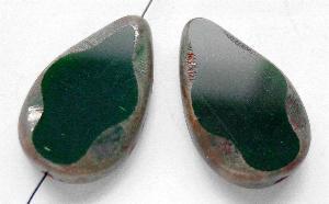 Best.Nr.:67834 Glasperle / Table Cut Beads geschliffen Tropfenform dunkelgrün mit picasso finish
