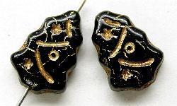 Best.Nr.:51055 Glasperlen  Weihnachtsbäume  geprägt mit Goldauflage  schwarz