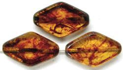 Best.Nr.:67034 Glasperlen / Table Cut Beads  geschliffen, topas mit picasso finish, hergestellt in Gablonz / Tschechien