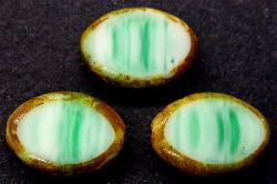 Best.Nr.:67017 Glasperlen / Table Cut Beads  Olive geschliffen, grün mit picasso finish, hergestellt in Gablonz / Tschechien
