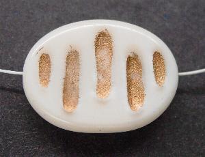 Best.Nr.:59047 Vintagestyle Glasperlen perlmuttweiß mit Goldauflage nach alten Vorlagen aus den 1930/40 Jahren neu gefertigt