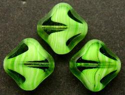 Best.Nr.:67167 Glasperlen / Table Cut Beads  geschliffen  kristall grün weiß
