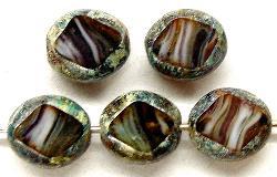 Best.Nr.:67027  Glasperlen / Table Cut Beads  geschliffen mit picasso finish,   hergestellt in Gablonz / Tschechien