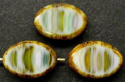 Best.Nr.:67016 Glasperlen / Table Cut Beads  Olive geschliffen