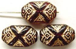 Best.Nr.:57072 Antik style Glasperlen,  nach alten Vorlagen aus den 1920 Jahren  neu gefertigt  granatrot mit Goldauflage