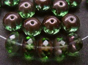 Best.Nr.:27524 facettierte Glasperlen Linsen grün mit bronze Veredelung