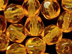 Best.Nr.:27264 facettierte Glasperlen  orangegelb transp., hergestellt in Gablonz / Tschechien